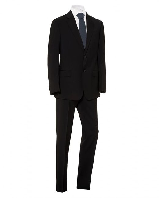 Emporio Armani Plain Black Wool With Natural Stretch Suit for men