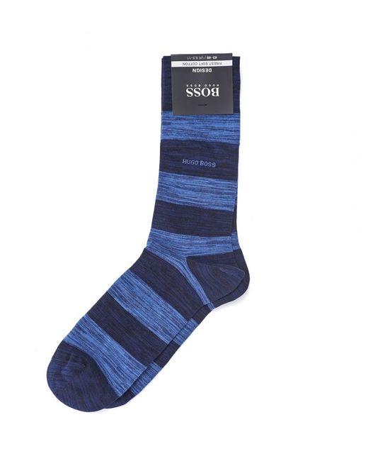 BOSS Black | Rs Design Navy Blue Striped Sock for Men | Lyst