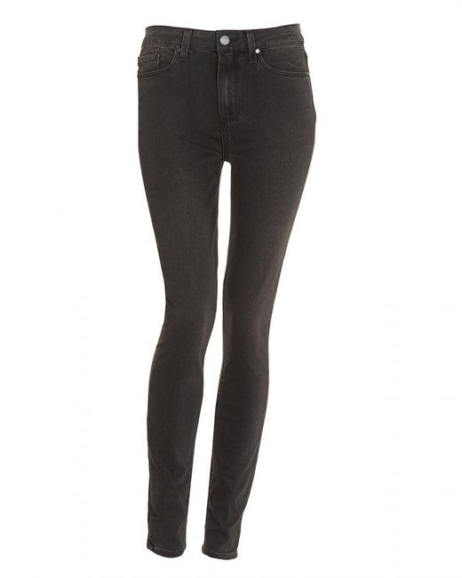PAIGE | Gray Hoxton High-rise Smoke Grey Ultra Skinny Jeans | Lyst