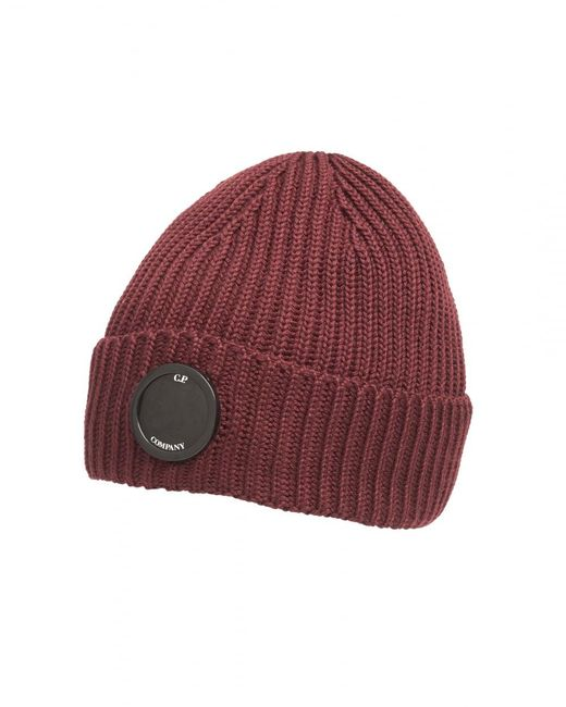 C P Company | Burgundy Red Goggle Lens Ribbed Beanie Hat for Men | Lyst