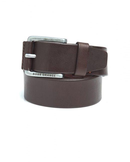 BOSS Orange | Jakab Brown Smooth Leather Belt for Men | Lyst