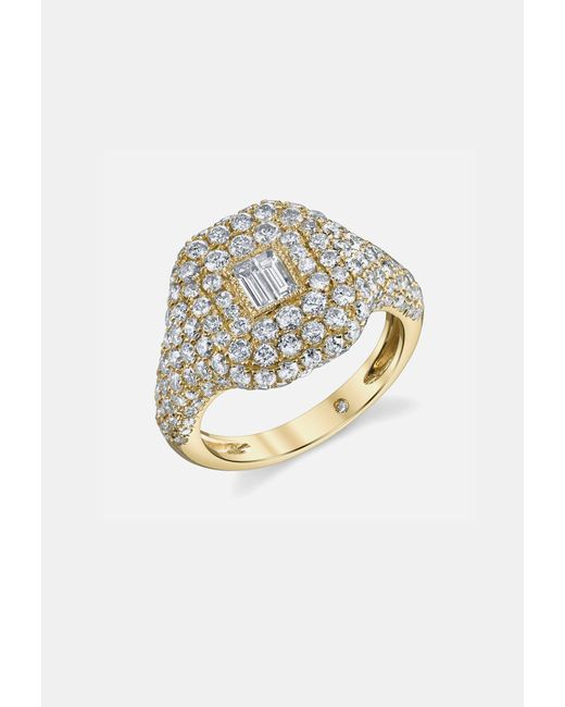 SHAY | Metallic Pave Essential Pinky Ring In Yellow Gold With Baguette Diamond | Lyst