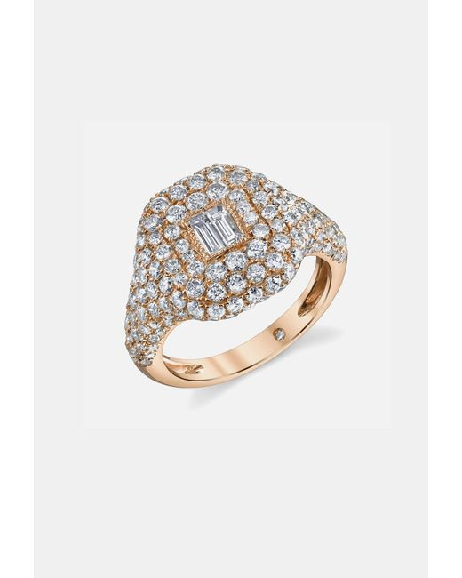 SHAY - Metallic Pave Essential Pinky Ring In Rose Gold With Baguette Diamond - Lyst