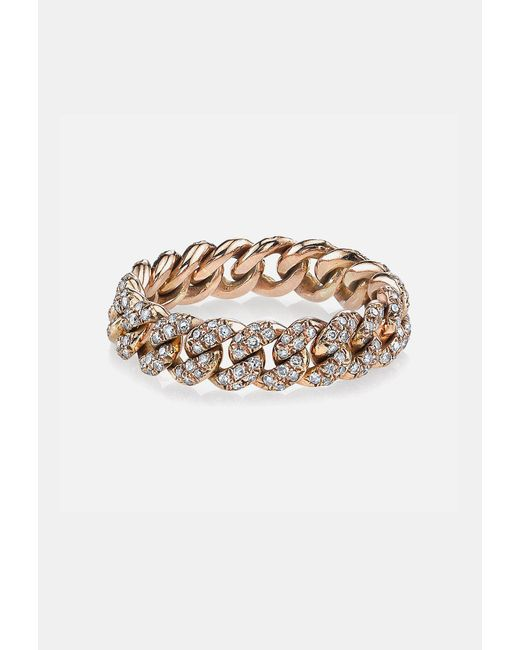 SHAY - Metallic Pave Diamond Essential Link Ring In Rose Gold - Lyst