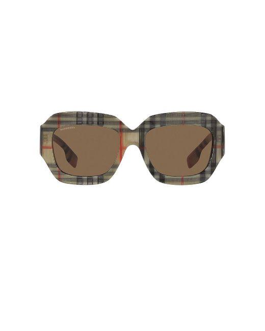 Солнцезащитные Очки B. Check В Цвете Vintage Check & Dark Brown Solid Burberry