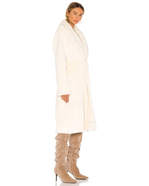 Apparis Mona Faux Fur Coat In Ivory (White)