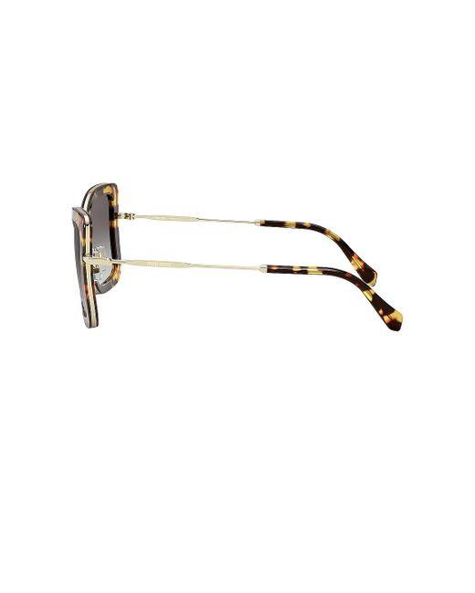 Солнцезащитные Очки Harmonie Squared Cat Eye В Цвете Medium Havana & Grey Gradient - Brown. Размер All. Miu Miu, цвет: Gray