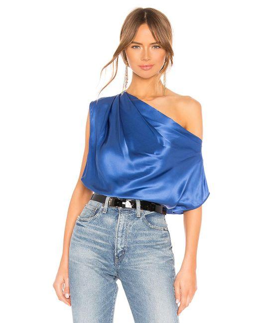 653c4c9218b9fa Michelle Mason - Blue Asymmetrical Drape Top - Lyst ...