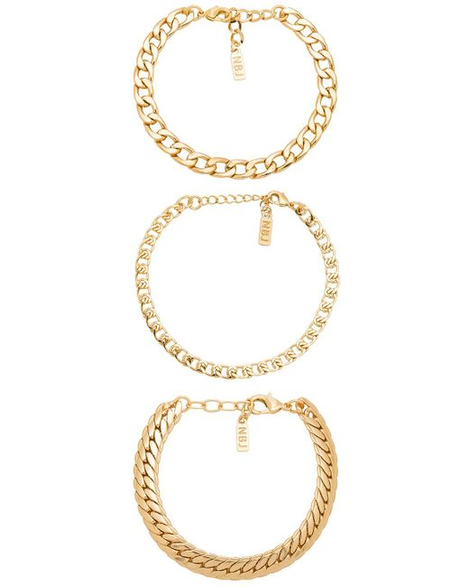 Natalie B. Jewelry - Tre Catena Bracelet In Metallic Gold. - Lyst