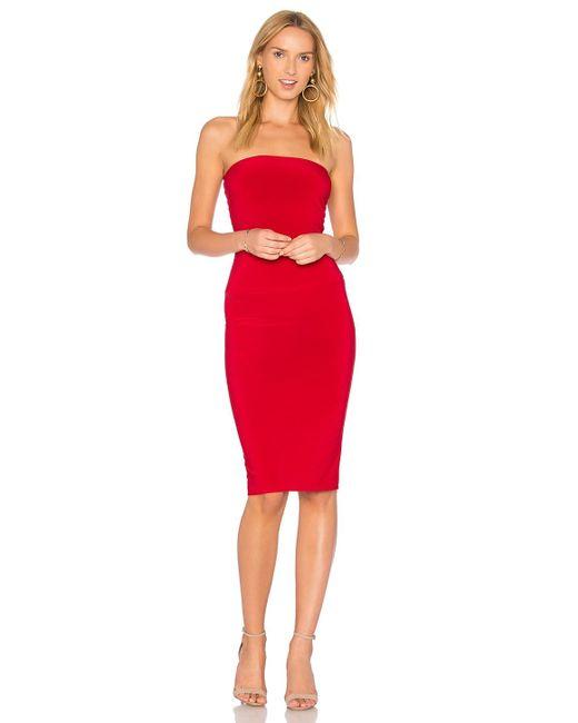 Norma Kamali ストラップレス膝丈ドレス Red