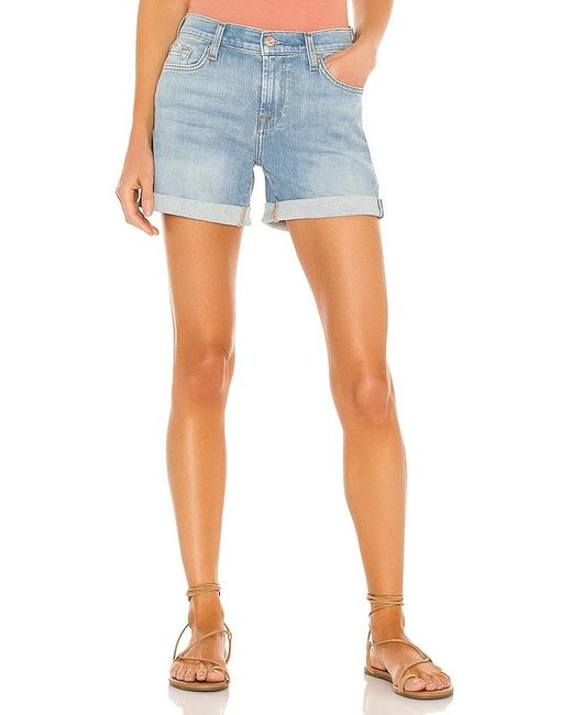7 For All Mankind Blue Mid Roll Short
