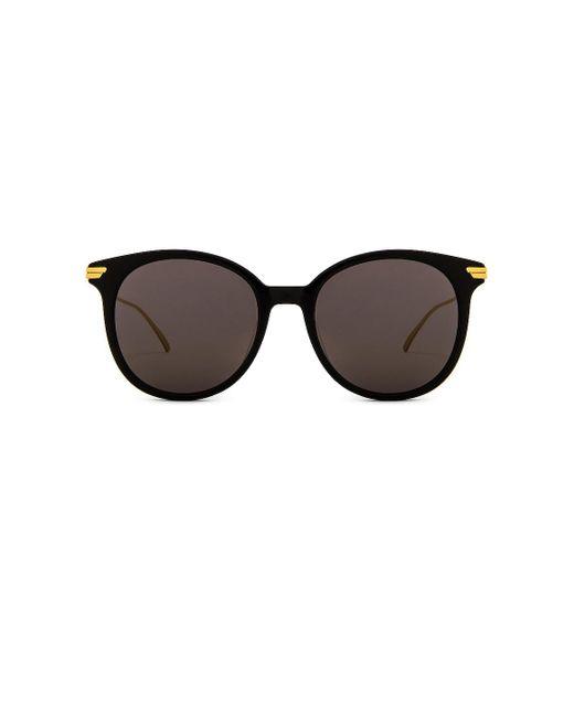 Солнцезащитные Очки Oversized Round В Цвете Shiny Black & Grey Bottega Veneta, цвет: Multicolor
