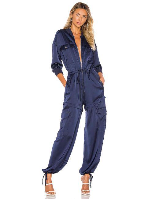 Kendall + Kylie Blue Satin Convertible Cargo Jumpsuit