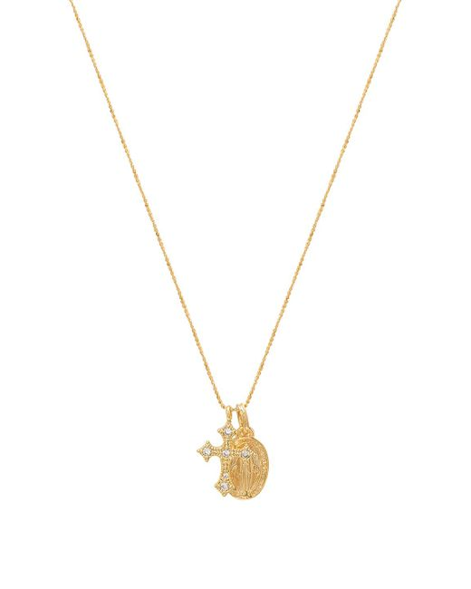 Five And Two - Metallic Celeste Saint & Cross Necklace In Gold. - Lyst