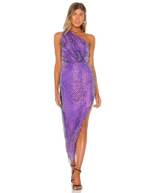 Michelle Mason One Shoulder ミディ丈ドレス Purple