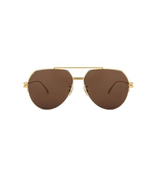 Солнцезащитные Очки Metal Double Bridge Pilot В Цвете Shiny Gold & Brown Bottega Veneta, цвет: Metallic