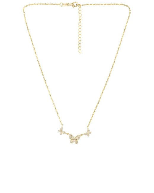 ADINAS JEWELS Pave Triple Butterfly ネックレス Metallic
