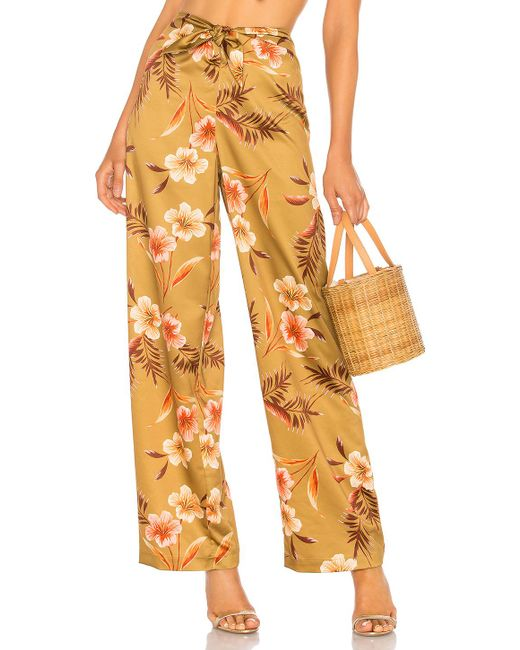 LPA - Multicolor Tie Front Pant In Brown - Lyst