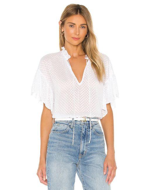 Alice + Olivia Julius short ruffle sleeve tunic top de mujer de color blanco yHdz5