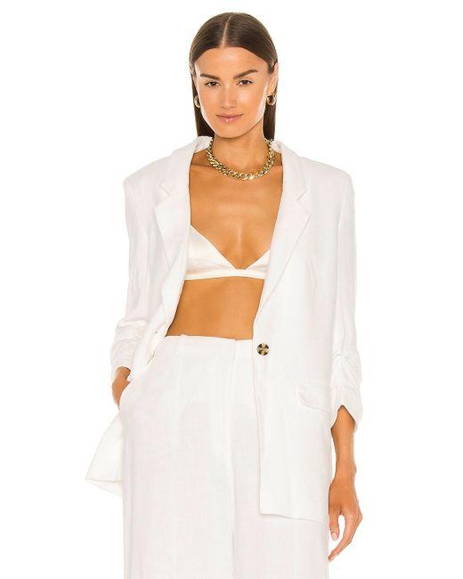 Tuck sleeve linen blazer Bardot de color White