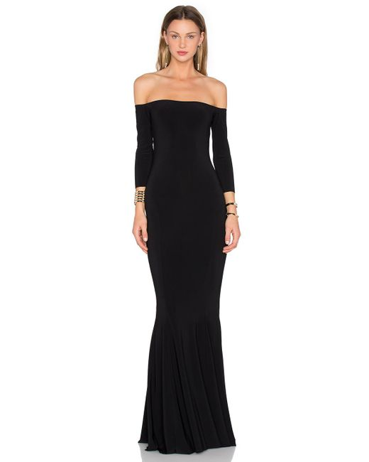 Norma Kamali - Black Off The Shoulder Fishtail Gown - Lyst