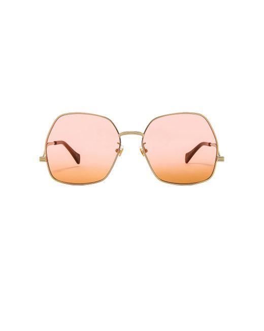 Солнцезащитные Очки Metal Wave Hexagonal В Цвете Shiny Endura Gold Pink & Dark Orange Gradient Gucci, цвет: Multicolor