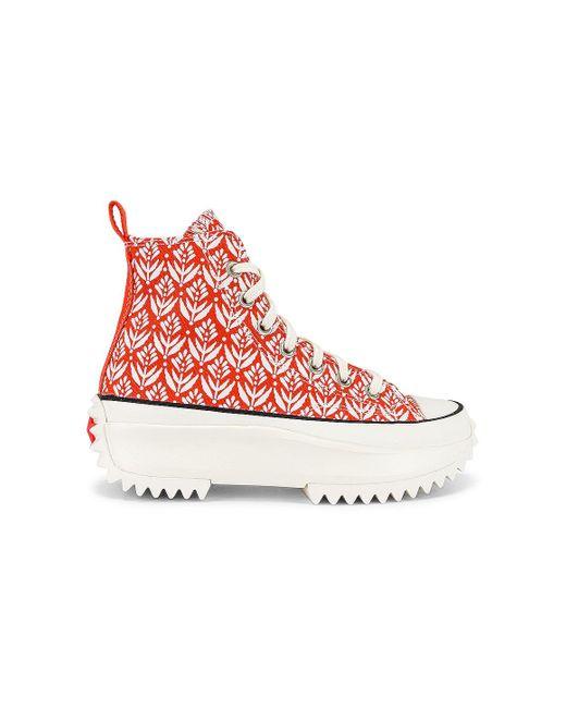 Converse Run Star Hike Platform All White スニーカー Red