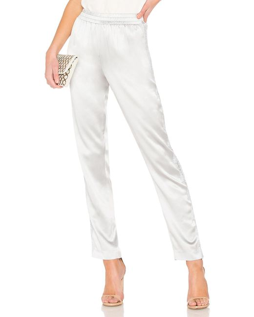 Fleur du Mal - White Lace Insert Satin Pajama Pant In Gray - Lyst
