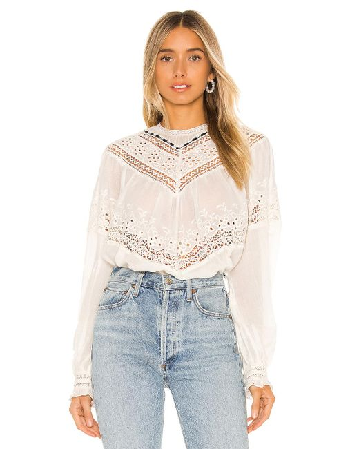 Free People White Abigail Victorian Top