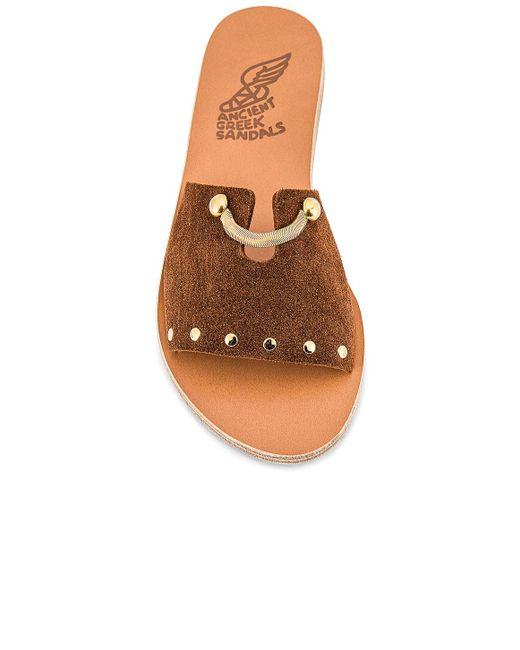 Ancient Greek Sandals Siriti Kalomira スライド Brown