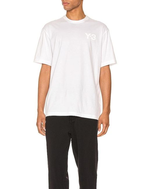 Y-3 White Chest Logo Tee for men