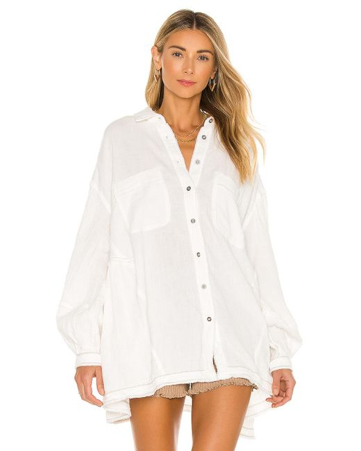 Free People White Anaheim Double Cloth Top