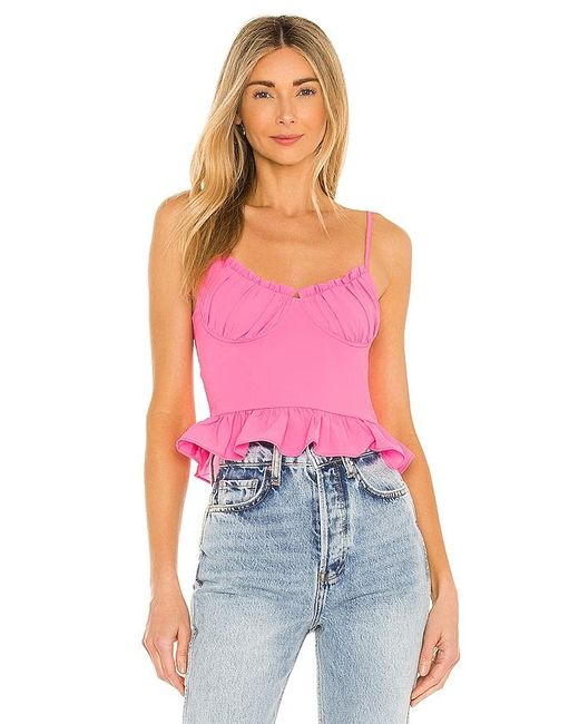 superdown Pink Cadence Ruffle Cami Top