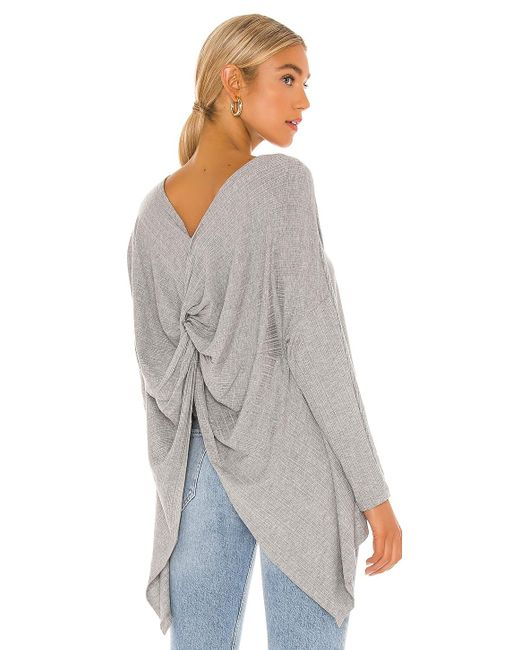 1.STATE Gray Variegated Rib Knot Sweater