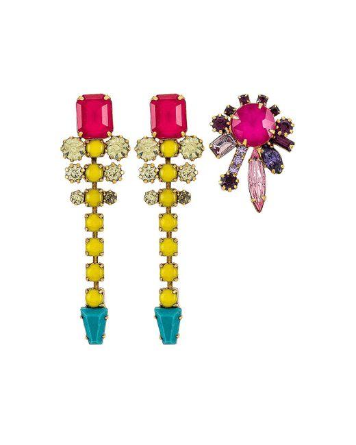 Набор Серьг В Цвете Ярко Розовый Elizabeth Cole, цвет: Multicolor
