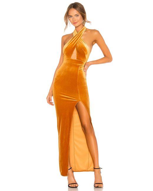 Michael Costello Vestido largo halter presley de mujer de color naranja