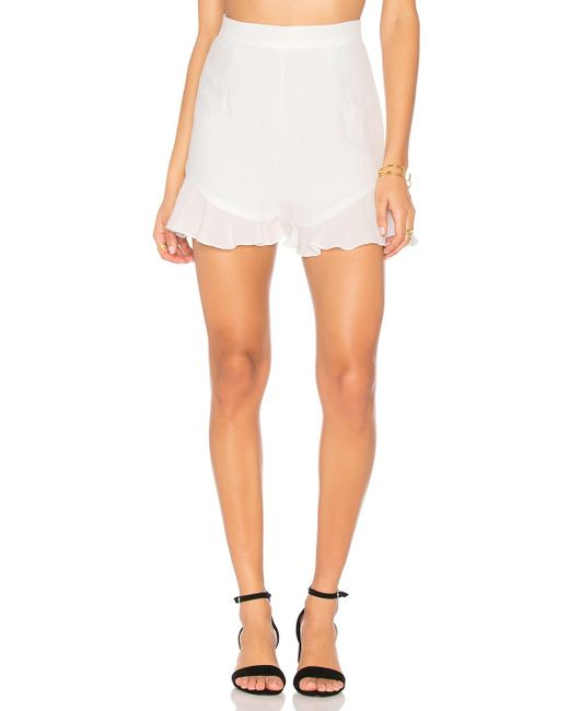 Lioness   White All Summer Long Linen Shorts   Lyst