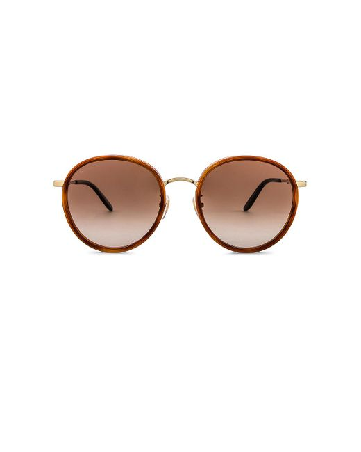 Солнцезащитные Очки Vintage Round В Цвете Shiny Blonde Havana Gold & Brown Gradient Gucci, цвет: Multicolor