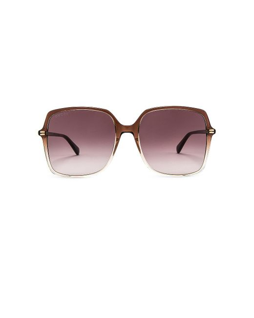 Солнцезащитные Очки Square В Цвете Brown Gradient Nude & Violet Gucci