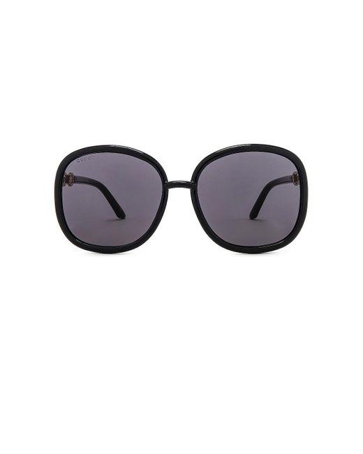 Gucci Horsebit Tubolar Oversize Square サングラス Black