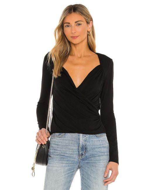 Krisa Black Surplice Long Sleeve Blouse