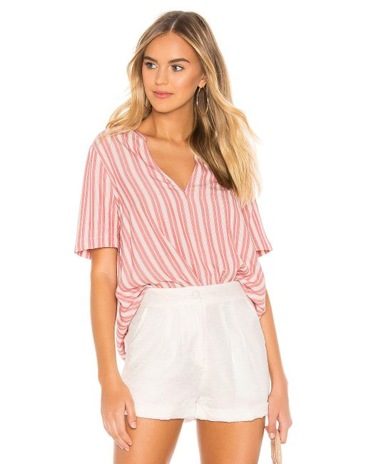 BCBGeneration Red Pleat Front Short Sleeve Top