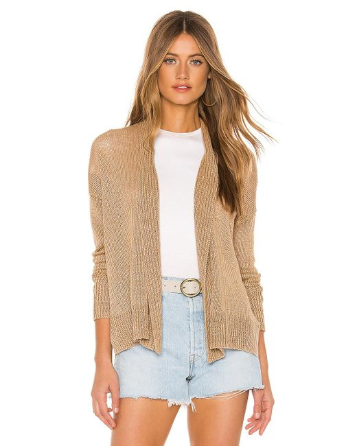 White + Warren Natural Hi Lo Open Cardigan