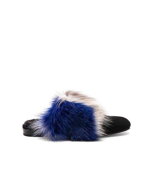 Stuart Weitzman Furgetit Fox Fur Slide iTJZ2