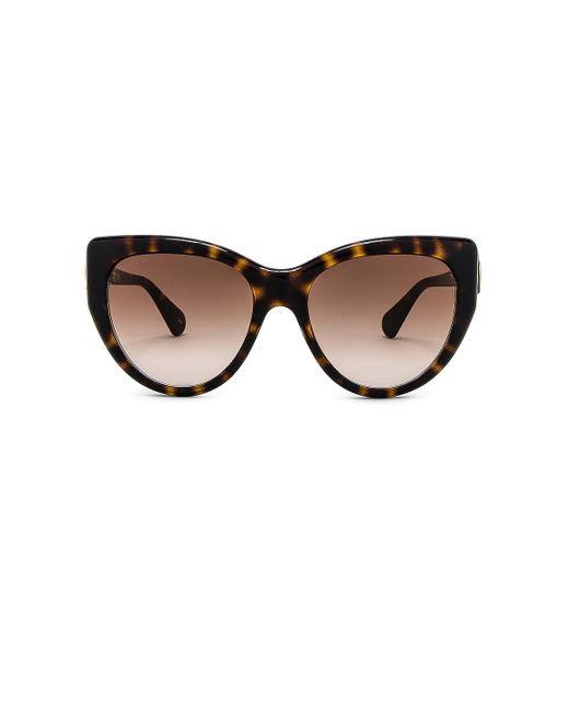 Солнцезащитные Очки Oversize Cat Eye Fork В Цвете Shiny Dark Havana & Brown Gradient Gucci