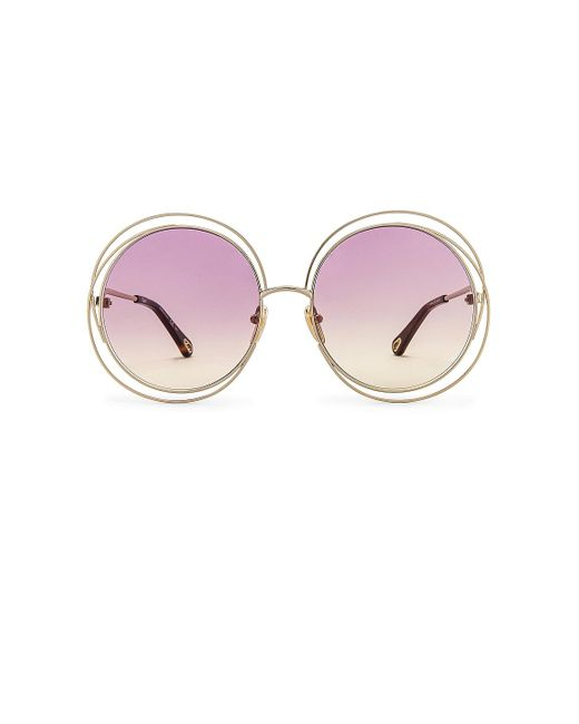 Солнцезащитные Очки Carlina Round Gradient В Цвете Shiny Light Gold With Pink & Yellow Gradient Chloé