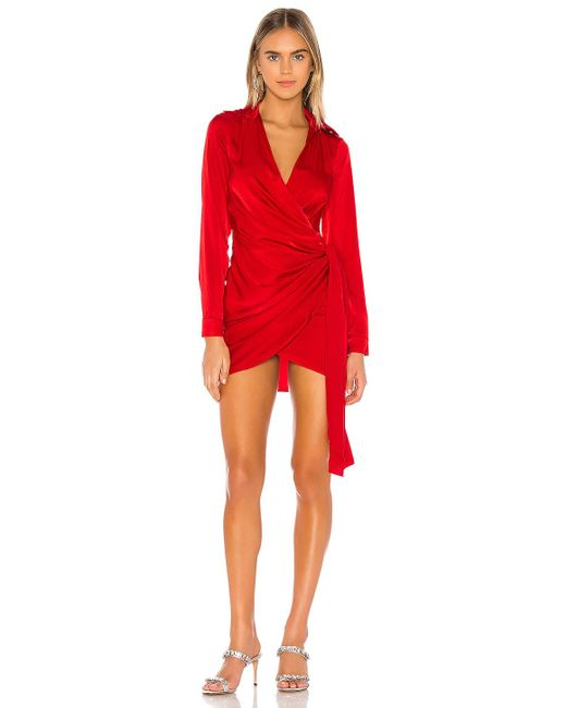 superdown Red Sophie Draped Mini Dress
