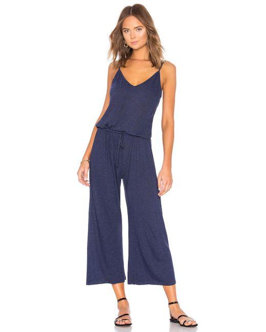 Lanston - Blue Drawstring Back Crop Jumpsuit - Lyst
