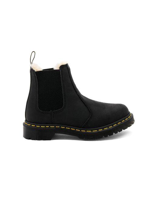 Dr. Martens Black Leonore Faux Fur Lined Chelsea Boot