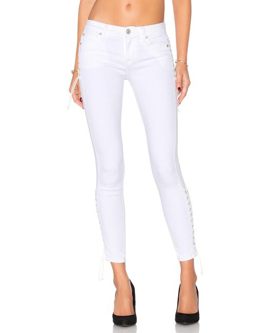 Hudson Suki Super-skinny Mid-rise Cropped Jeans in White - Save 70 ...